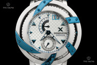 Xoskeleton Men's 50mm Barracuda Limited Edition Furnace Blue Accented Quartz Bracelet Watch