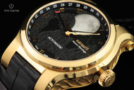 Renato Men's 45mm Master Horologe Moonphase Gold Plated Alligator Strap Watch with Martin Braun Customized 2824 Automatic Movement