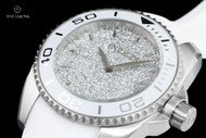 Invicta Women's 40mm Angel Stardust Silver Sparkle Dial Swiss Quartz White Silicone Strap Watch - 22702