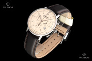 Junkers Men's 40mm Bauhaus German Made Beige Dial Swiss Chronograph Leather Strap Watch - 6086-5