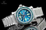 Reactor 45mm Proton World Timer Caribbean Light Blue Dial Bracelet Watch with Never Dark Technology - 91603