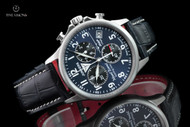 Junkers Men's 40mm Mount Everest German Made Blue Dial Swiss Chronograph Leather Strap Watch - 6894-3