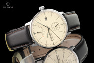 Junkers Men's 40mm Bauhaus German Made Beige Dial Caliber 9132 Automatic Leather Strap Watch with Power Reserve Indicator - 6060-5