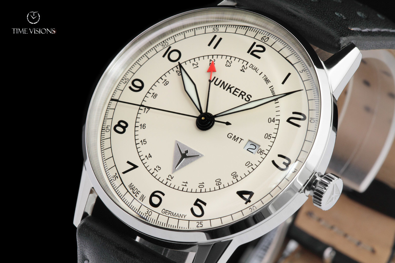 d43ee5cacca Junkers Men's 42mm G38 Edition II Series German Made Leather Strap Watch  with Swiss GMT Movement - 6946-5