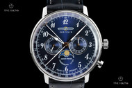 Zeppelin Men's 40mm LZ 129 Hindenburg Ed 2 German Made Moon Phase Leather Strap Watch - 7036-3