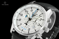 Junkers 42mm Hugo Junkers Series German Made Corrugated Dial Alarm Chronograph Leather Strap Watch - 6684-1
