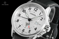 Junkers 40mm Tante JU Series German Made Corrugated Dial Swiss GMT Leather Strap Watch - 6848-1