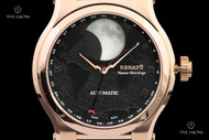 Renato Men's 45mm Master Horologe Moonphase Rose Gold Plated Alligator Strap Watch with Martin Braun Customized 2824 Automatic Movement