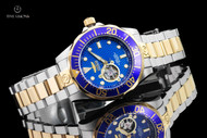Invicta 47mm Grand Diver Blue Dial Open Heart Automatic 2-Tone Bracelet Watch - 13706