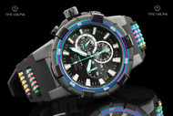 Invicta Men's 51.5mm Aviator Rainbow Bezel Black IP Quartz Chronograph Strap Watch - 23691