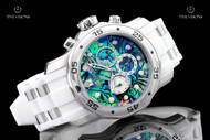 Invicta Men's 48mm Pro Diver Scuba Abalone Dial Quartz Chronograph White Strap Watch - 24839