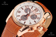 Invicta 45mm Reserve Swiss Made COSC Certified Chronometer 18kt Rose Gold Plated Leather Strap Watch - 16943