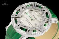 Xoskeleton Women's 41mm Superlative Star Rainforest Green Topaz Gemstone Limited Edition White Mother-of-Pearl Swiss Movement Leather Strap Watch