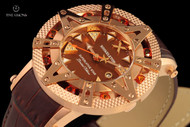 Xoskeleton 41mm Superlative Star Burnt Sienna Topaz Gemstone Limited Edition Brown Mother-of-Pearl Swiss Movement Leather Strap Watch
