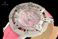 Xoskeleton Women's 41mm Superlative Star Baby Pink Topaz Gemstone Limited Edition Pink Mother-of-Pearl Swiss Movement Leather Strap Watch