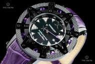 Xoskeleton Women's 41mm Superlative Star Royal Purple Topaz Gemstone Limited Edition Black Mother-of-Pearl Swiss Movement Leather Strap Watch