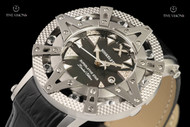 Xoskeleton 41mm Superlative Star White Topaz Gemstone Limited Edition Black Mother-of-Pearl Swiss Movement Leather Strap Watch