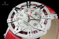 Xoskeleton 41mm Superlative Star Lipstick-Red Topaz Gemstone Limited Edition White Mother-of-Pearl Swiss Movement Leather Strap Watch