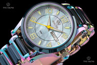 Reactor 36mm Women's Crystal Blue MOP Ionized Case Azure Blue Ceramic Link Bracelet Watch - 69999