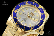 Invicta 47mm Grand Diver Silver Dial 18kt Gold Plated Automatic Bracelet Watch - 13872
