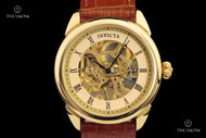 Invicta Men's Specialty Mechanical 18kt Gold Plated Skeletonized Dial Leather Strap Watch - 17186