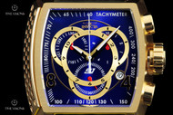 Invicta Men's S1 Rally Blue Dial 18kt Gold Plated Swiss Quartz Chronograph Leather Strap Watch - 20243