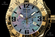 Invicta Men's 50mm Reserve Excursion MOP Dial 18kt Gold-Plated Mirror Polish Bracelet Watch - 6257