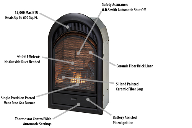 Duluth Forge Dual Fuel Ventless Fireplace Insert 15 000