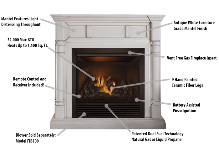 ventless fireplace natural gas. Fireplace Features Duluth Forge Full Size Dual Fuel Ventless  32 000 BTU