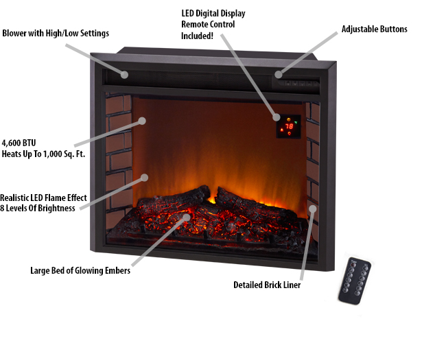 Duluth Forge 29in Electric Fireplace Insert With Remote Control