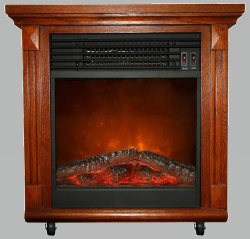 "20"" Compact Cherry Oak Electric Fireplace"