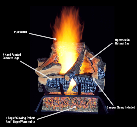 procom vented natural gas fireplace log set 18 in 45 000 btu rh ebay com glowing embers for ventless gas fireplace Gas Fireplace Grate
