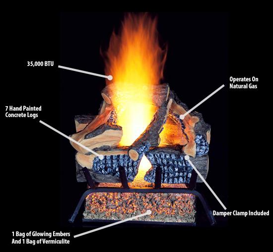 ProCom Vented Natural Gas Fireplace Log Set