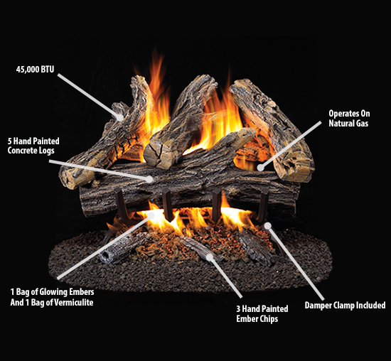 Procom Vented Natural Gas Fireplace Log Set 18 In