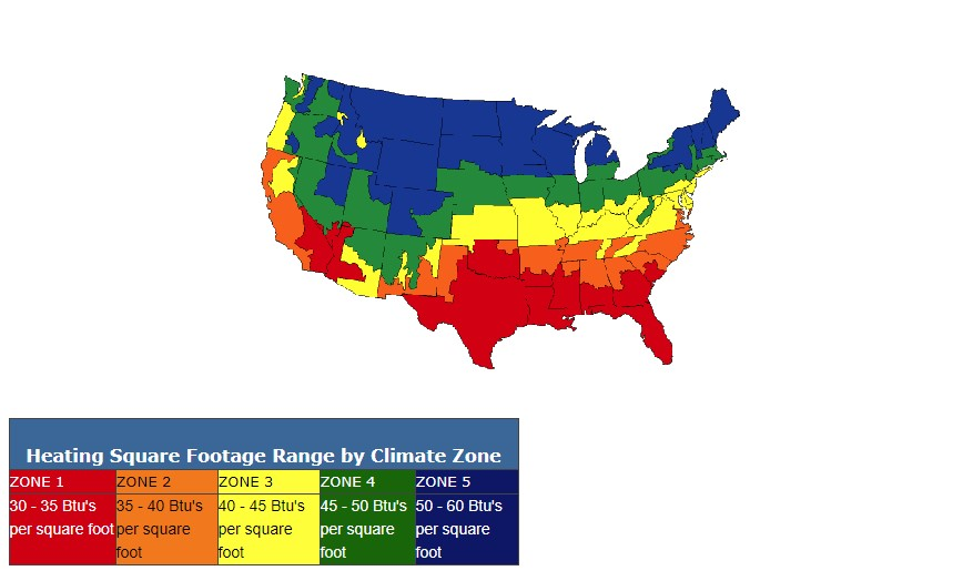 AC Direct Heat Climate Zone Map