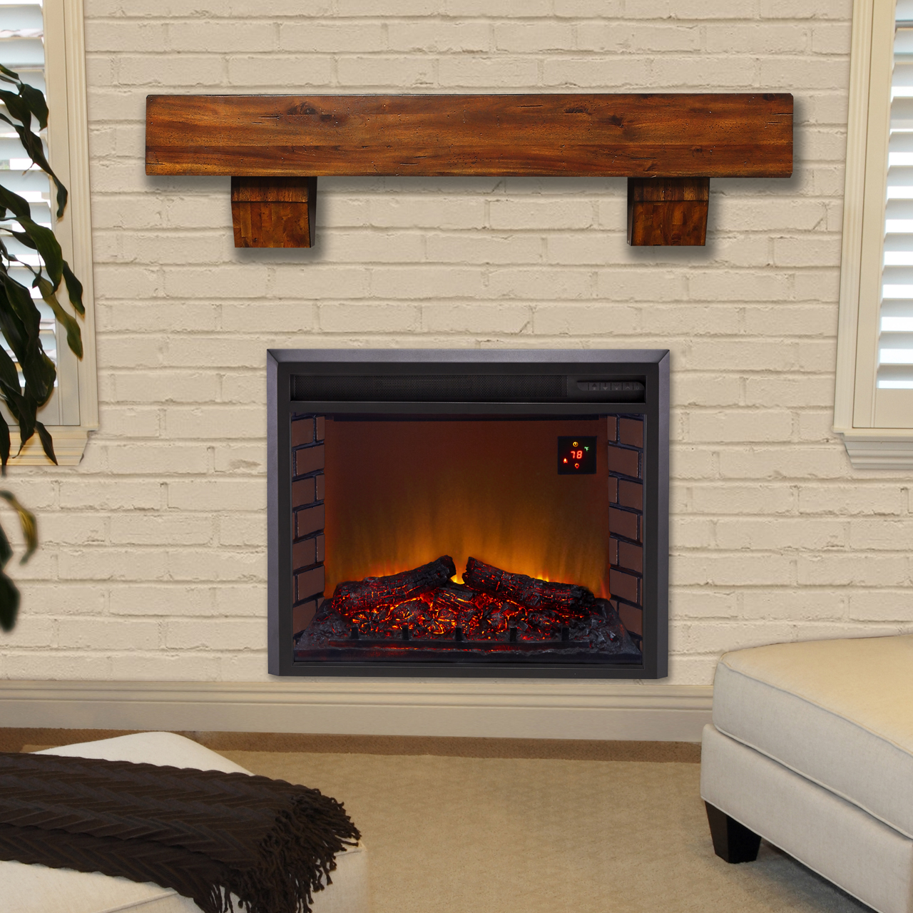 electric-insert-with-brown-mantel