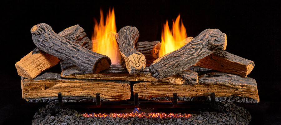 Ventless gas log sets give you the maximum amount of heat because they do not require an open chimney. Ventless gas logs produce more heat with less gas.