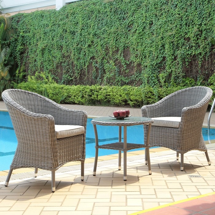 Pleasant Bay 3-Piece Outdoor Wicker Patio Bistro Set With Table