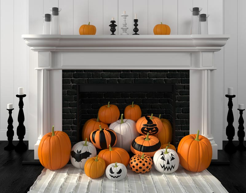 Hallowseen decorated fireplace