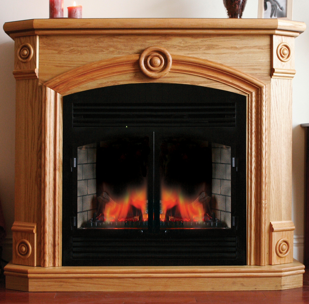 Procom Full Size Deluxe Electric Fireplace With Remote Control Oak Finish Model Sfe32re1 O