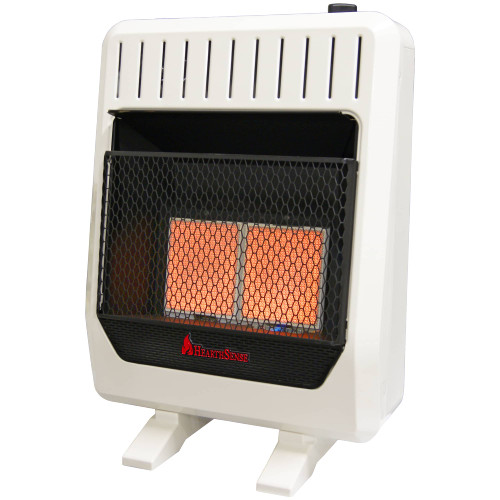 HearthSense Reconditioned Dual Fuel Ventless Infrared Plaque Heater with Base and Blower - 20,000 BTU, T-Stat Control