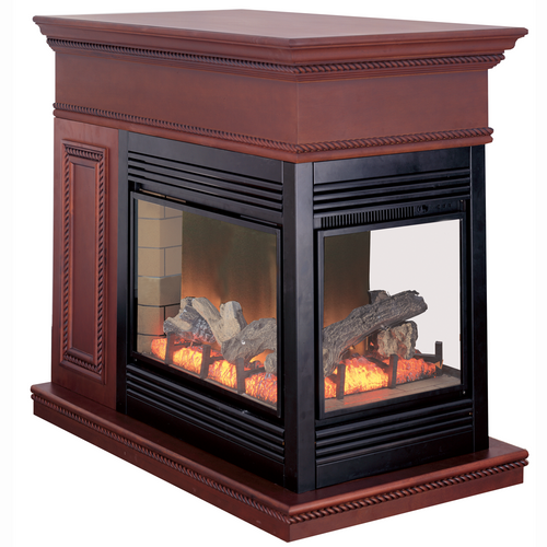 Electric Peninsula Fireplace With Remote Control - Coffee Glaze Finish, Model# SPE28RE-CG