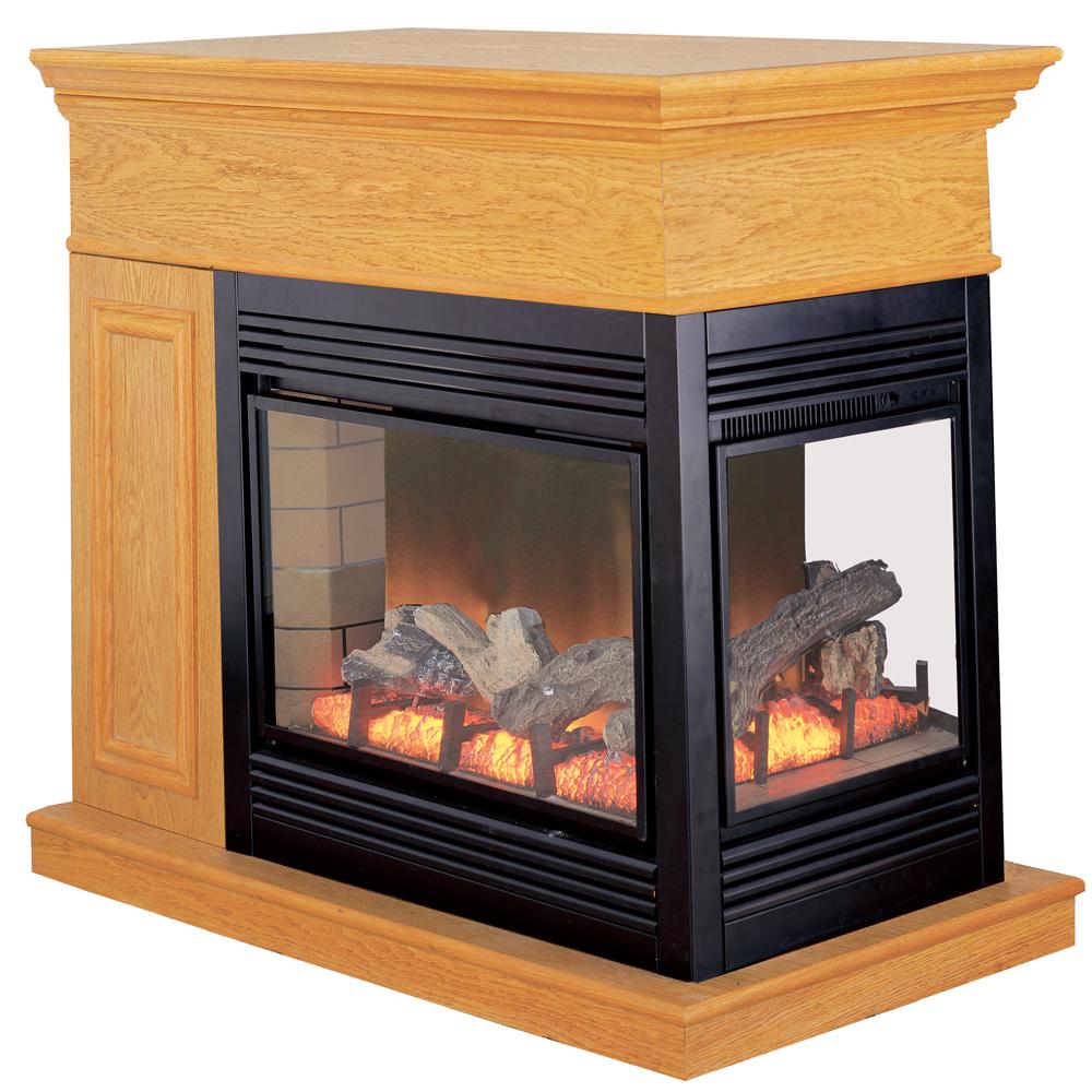Lennox 3 Sided Propane Fireplace: ProCom Full Size Electric Peninsula Fireplace With Remote