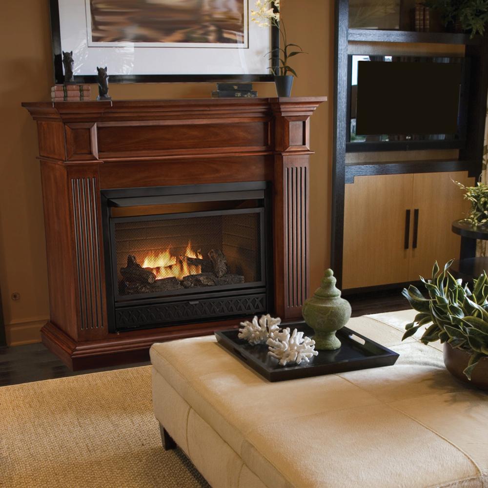 procom dual fuel ventless fireplace 20 000 btu medium oak