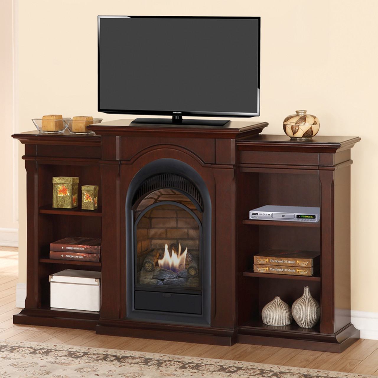 Duluth Forge Dual Fuel Ventless Fireplace With Bookshelves 15 000