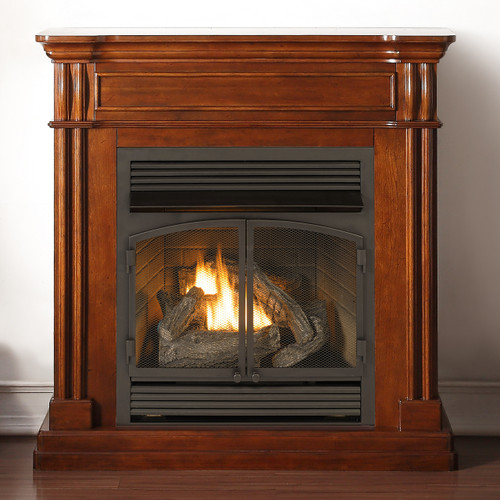 Duluth Forge Full Size Vent Free Gas Fireplace With Mantel: #FBD400RT, #CM400-1
