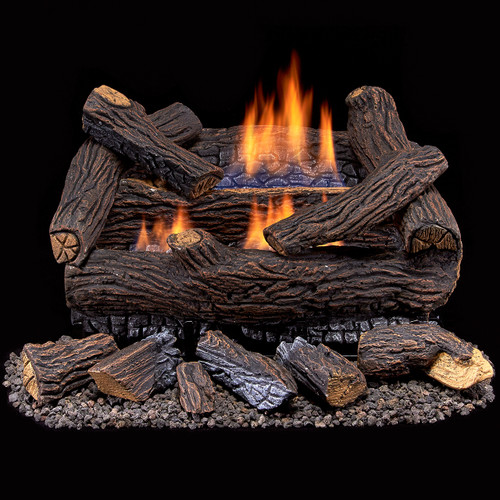 Duluth Forge Ventless Dual Fuel Gas Log Set - 18 in. Stacked Red ...