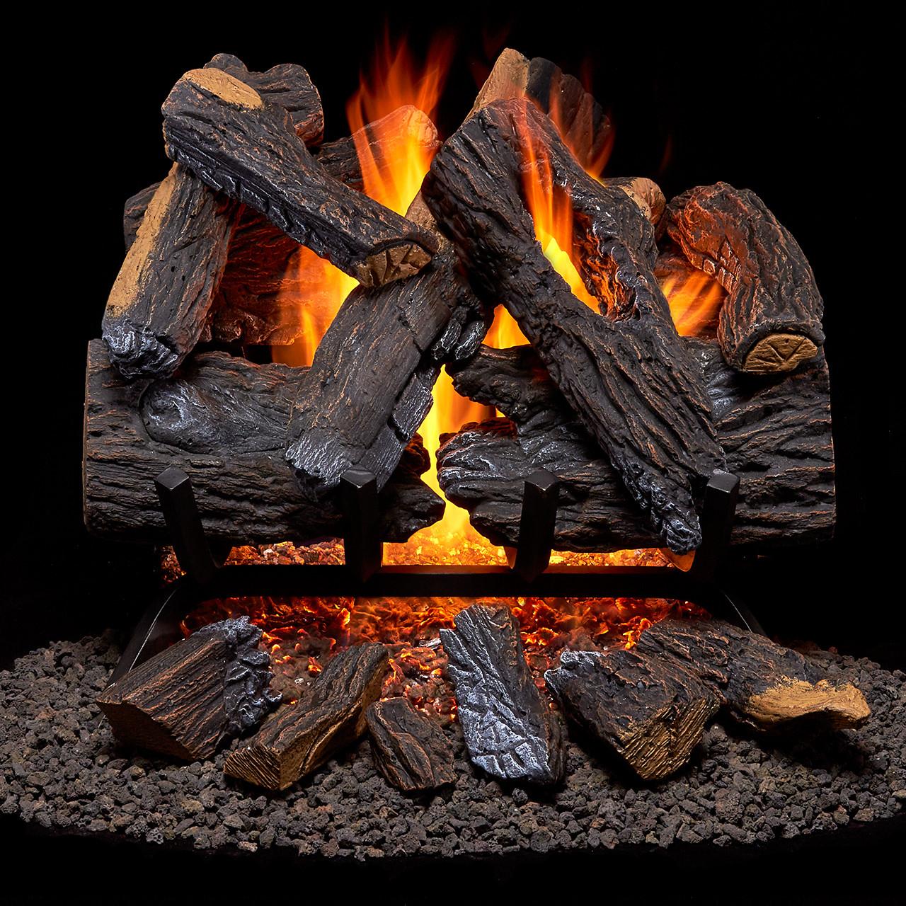 Duluth Forge Vented Natural Gas Fireplace Log Set with Ember Log Kit - Gas Log , Gas Log Sets, Fireplace Log Sets - Factory Buys Direct
