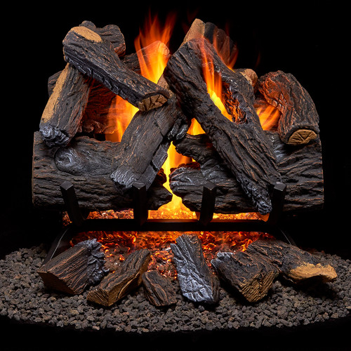 Duluth Forge Vented Natural Gas Fireplace Log Set with Ember Log Kit