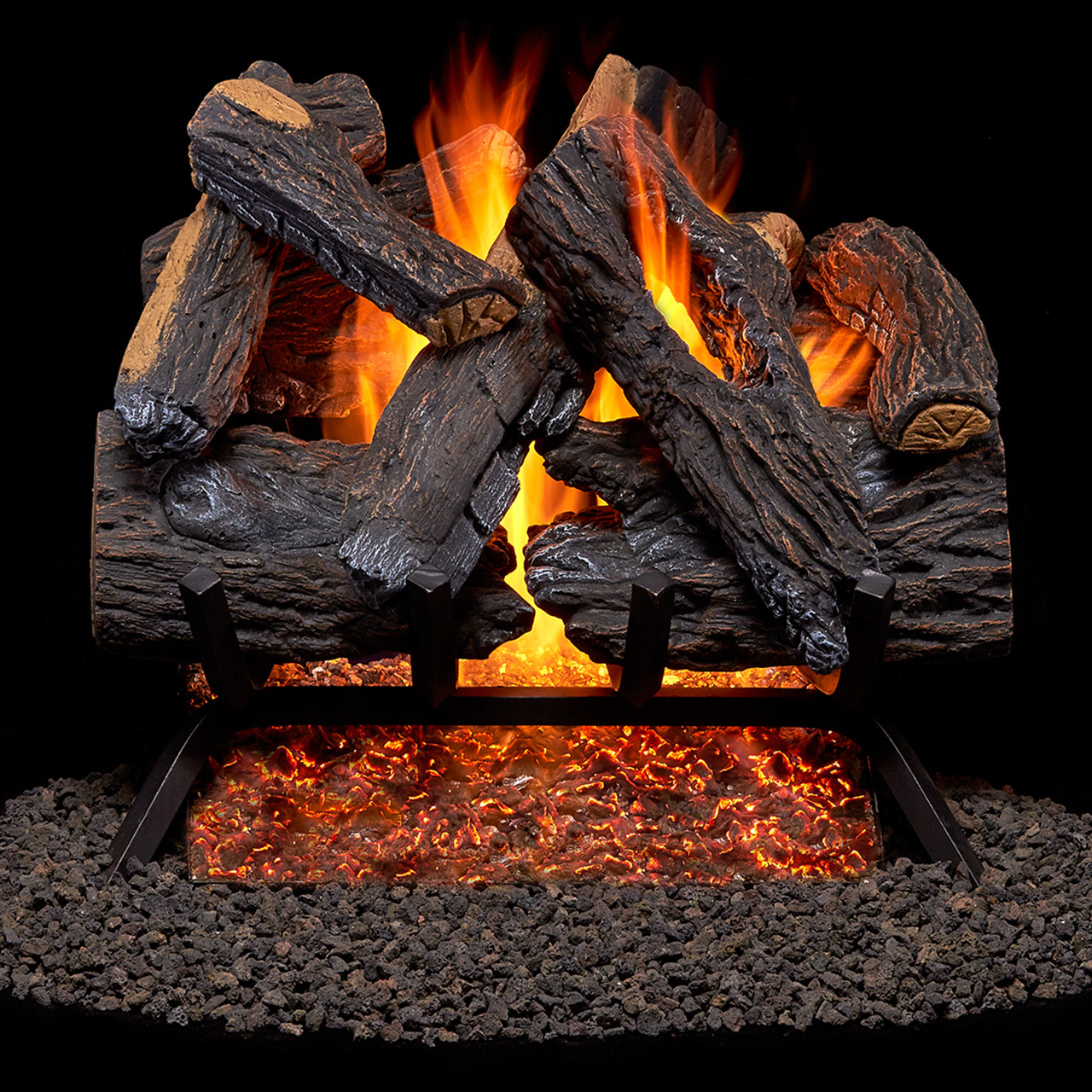Duluth Forge Vented Natural Gas Fireplace Log Set - 30 in., 65,000 ...